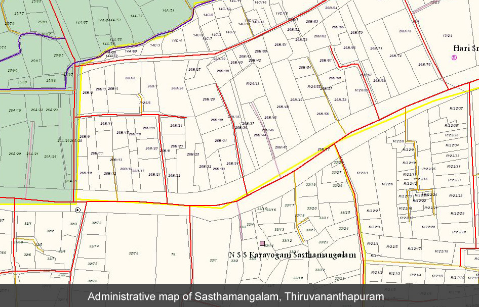 Administrative map, Sasthamangalam